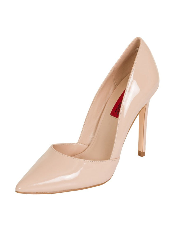 London Rebel | Felicity Nude Slip On Sharp Point Toe | Front Three Quarter