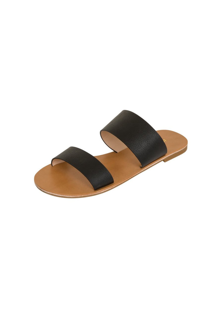 London Rebel | Flora Black Slip On Slider Sandal | Front Three Quarter