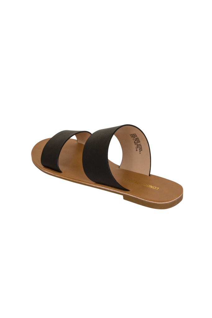 London Rebel | Flora Black Slip On Slider Sandal | Back Three Quarter