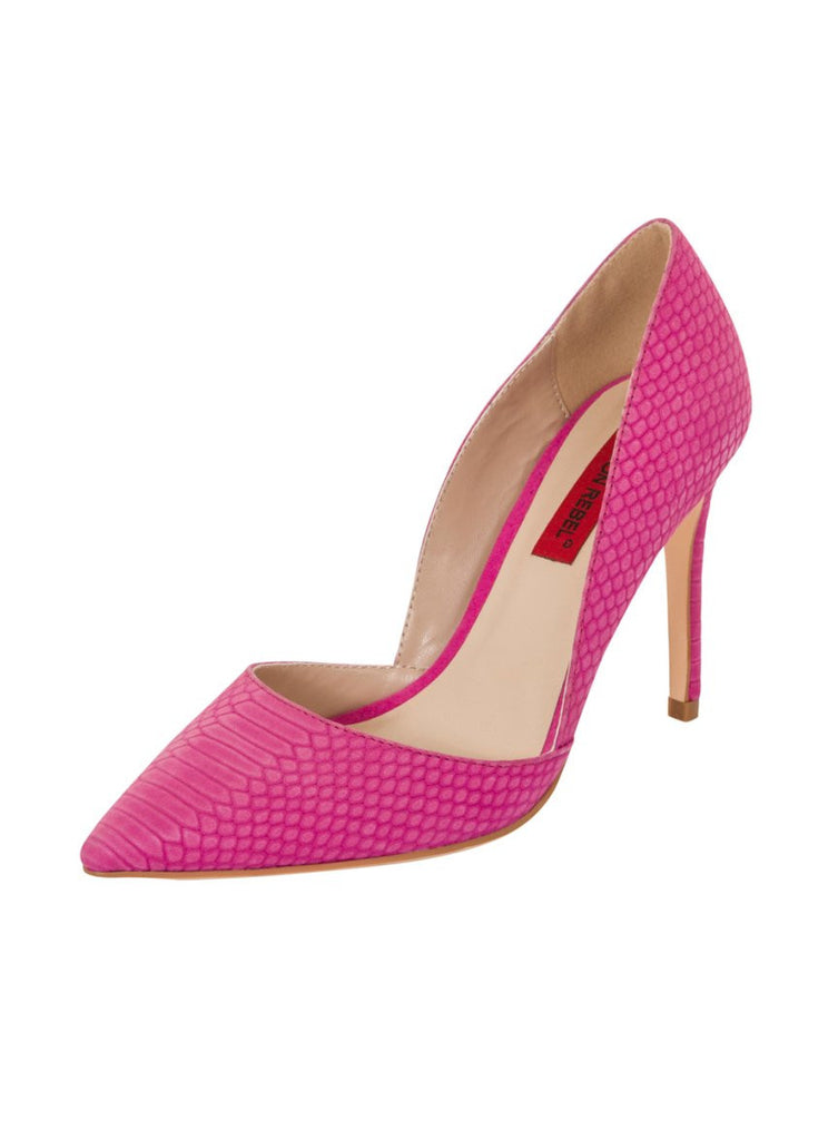 London Rebel | Felicity Fuchsia Slip On Sharp Point Toe | Front Three Quarter