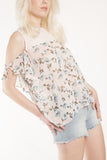 London Rebel | Flora Printed Cold Shoulder Blouse | Lifestyle Image | Front Three Quarter