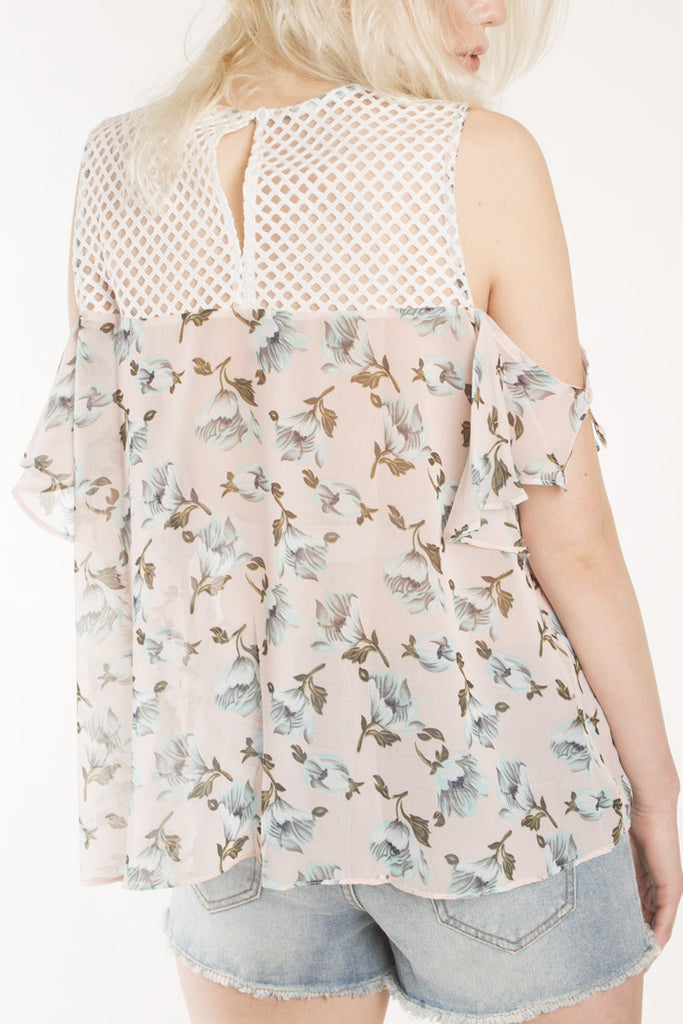 London Rebel | Flora Printed Cold Shoulder Blouse | Lifestyle Image | Back Three Quarter