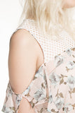 London Rebel | Flora Printed Cold Shoulder Blouse | Lifestyle Image | Side View Close Up