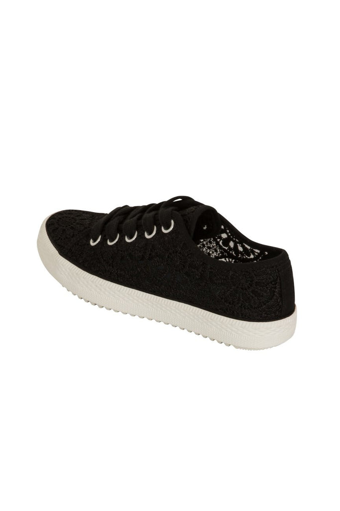 London Rebel | Georgia Black Lace Upper Slip On Trainer | Back Three Quarter