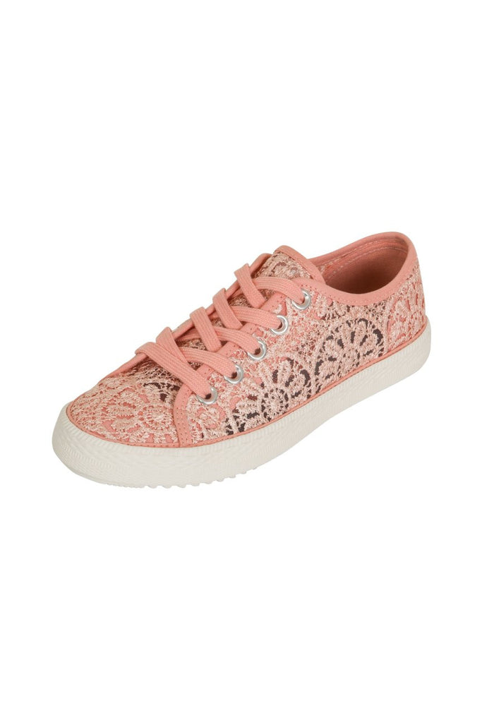 London Rebel | Georgia Nude Lace Upper Slip On Trainer | Front Three Quarter