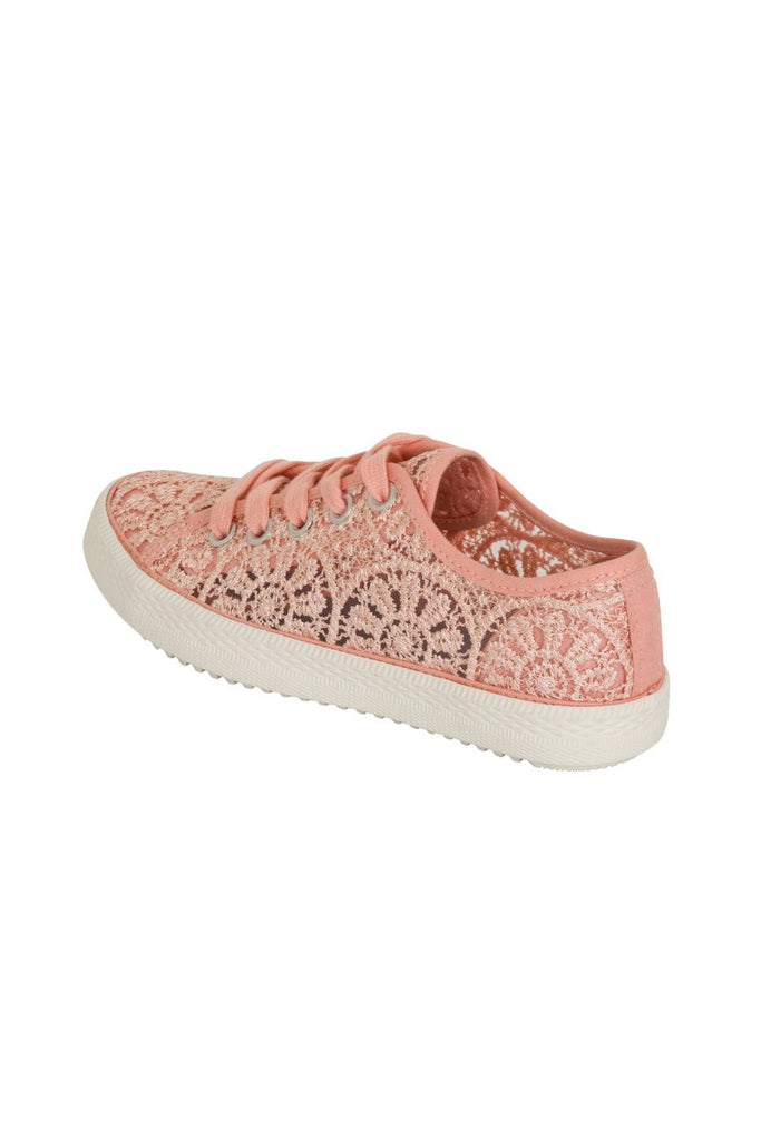 London Rebel | Georgia Nude Lace Upper Slip On Trainer | Back Three Quarter