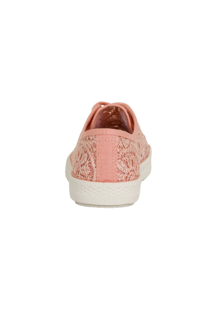 London Rebel | Georgia Nude Lace Upper Slip On Trainer | Back View