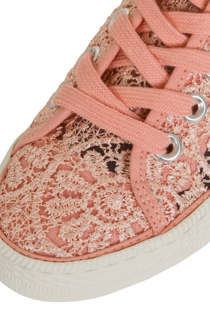 London Rebel | Georgia Nude Lace Upper Slip On Trainer | Front Three Quarter Close Up