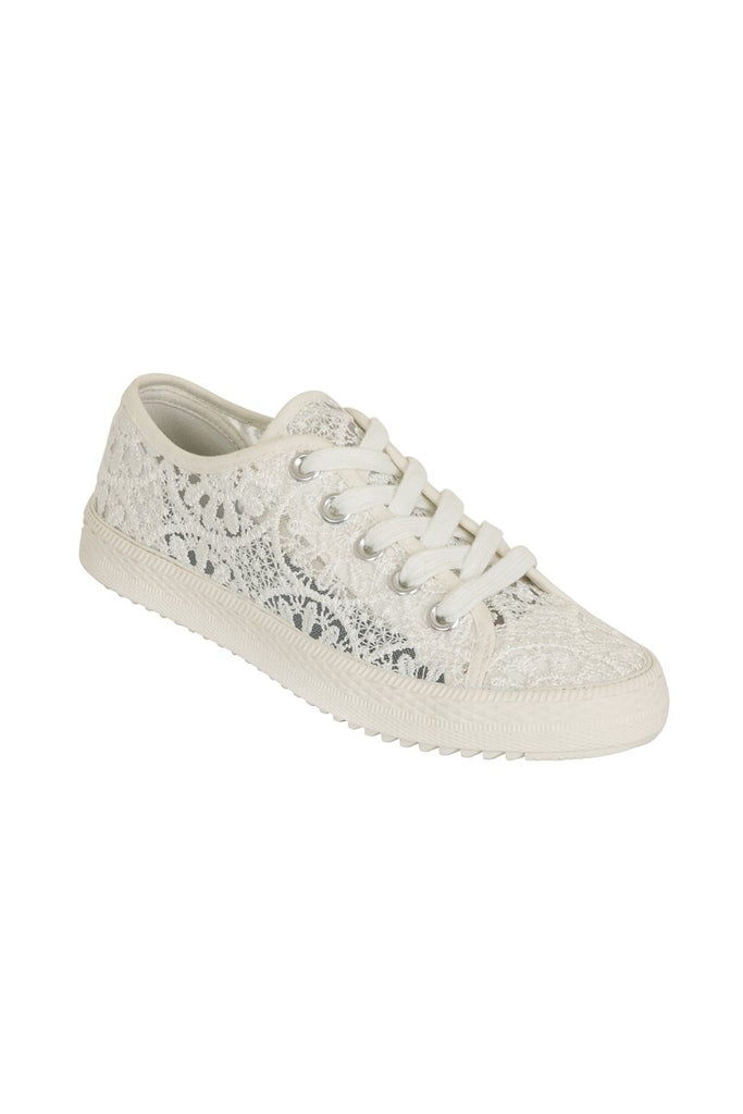 London Rebel | Georgia White Lace Upper Slip On Trainer | Front Three Quarter