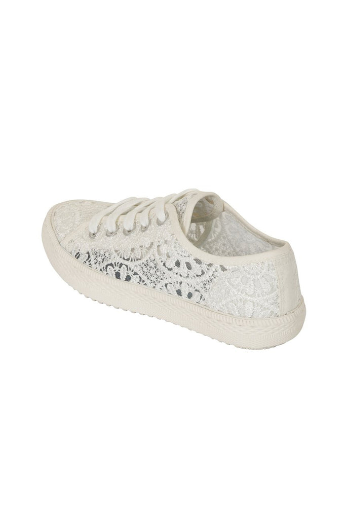 London Rebel | Georgia White Lace Upper Slip On Trainer | Back Three Quarter