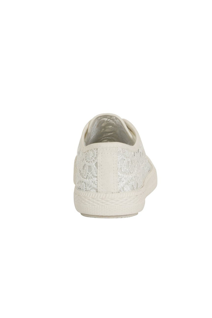 London Rebel | Georgia White Lace Upper Slip On Trainer | Back View