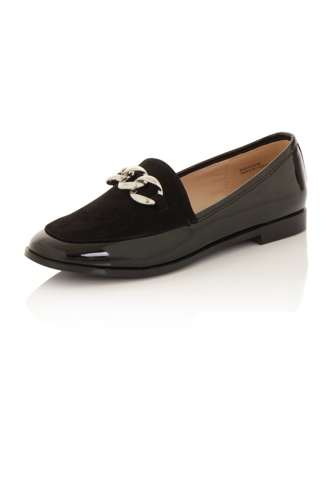 London Rebel | Guka Black Patent Effect Loafers | Front Three Quarter