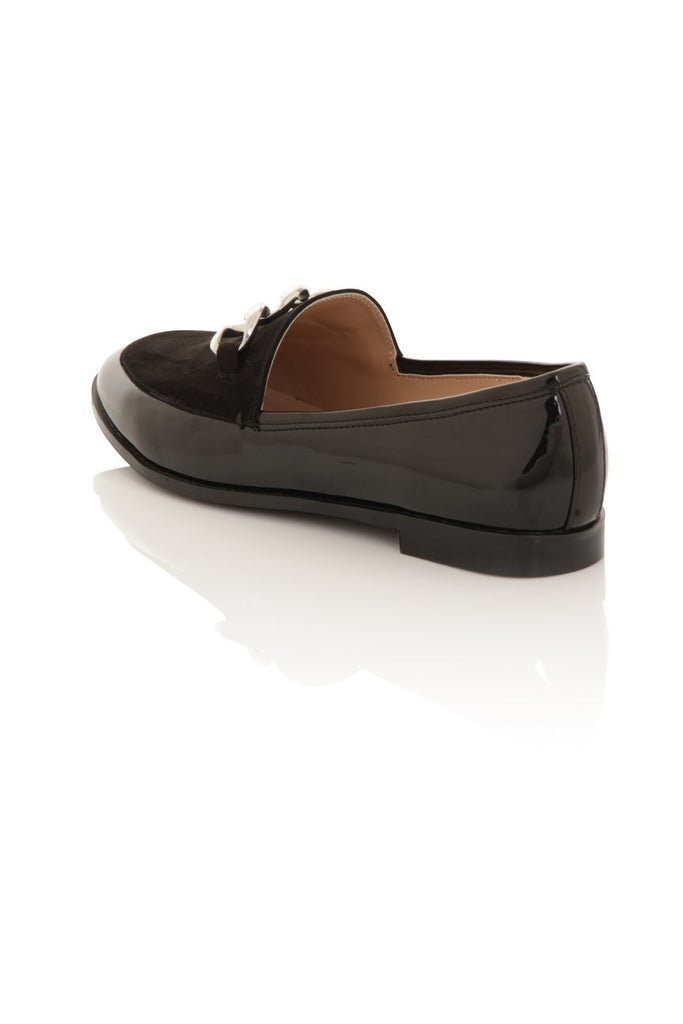 London Rebel | Guka Black Patent Effect Loafers | Back Three Quarter
