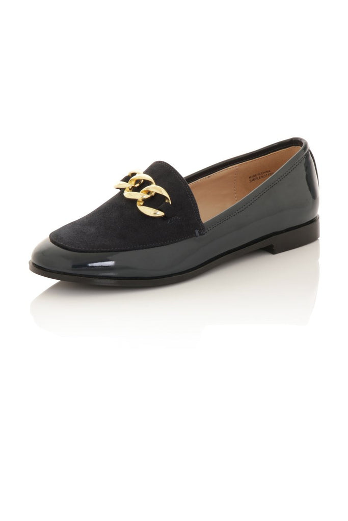 London Rebel | Guka Navy Patent Effect Loafers | Front Three Quarter