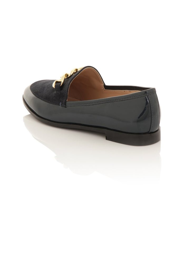 London Rebel | Guka Navy Patent Effect Loafers | Back Three Quarter