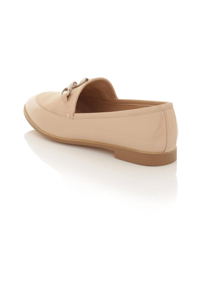 London Rebel | Guka Nude Patent Effect Loafers | Back Three Quarter