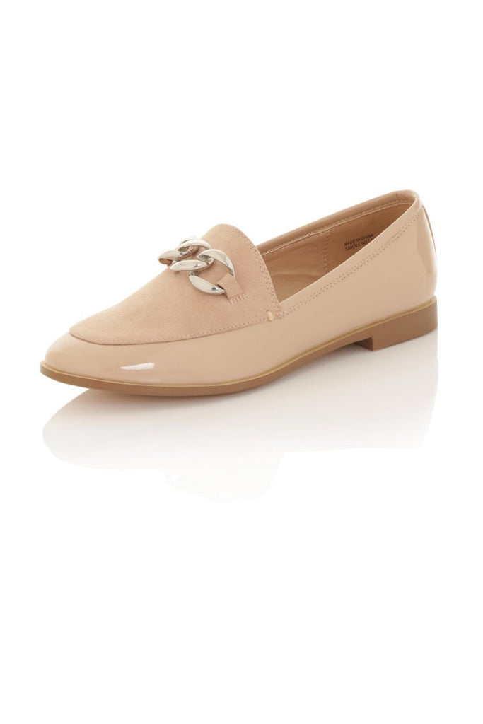 London Rebel | Guka Nude Patent Effect Loafers | Front Three Quarter