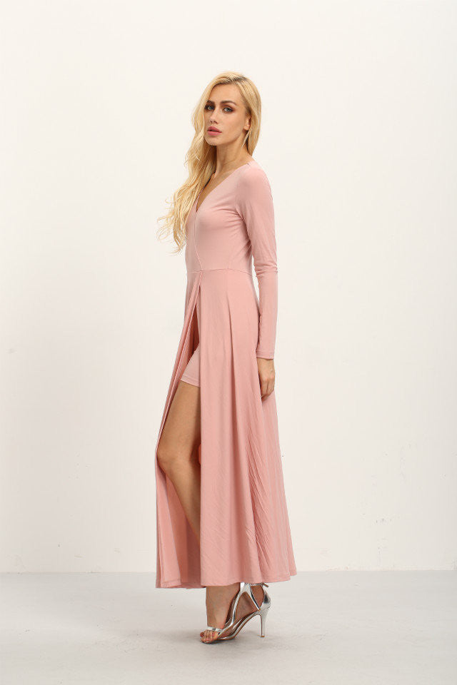 London Rebel | Bella Pale Pink Maxi Dress | Lifestyle Image | Front Left Three Quarter