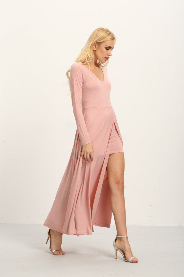 London Rebel | Bella Pale Pink Maxi Dress | Lifestyle Image | Front Right Three Quarter