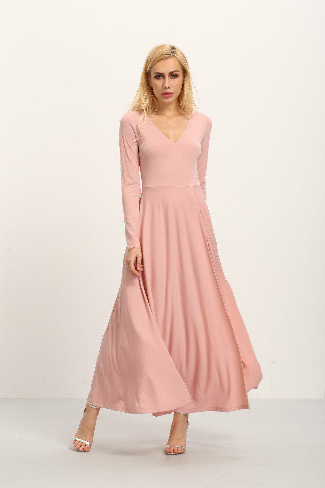 London Rebel | Bella Pale Pink Maxi Dress | Lifestyle Image | Front View