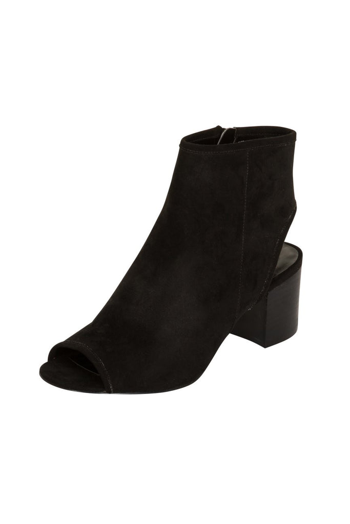 London Rebel | Holly Black Open Toe Backless Ankle Boot | Front Three Quarter