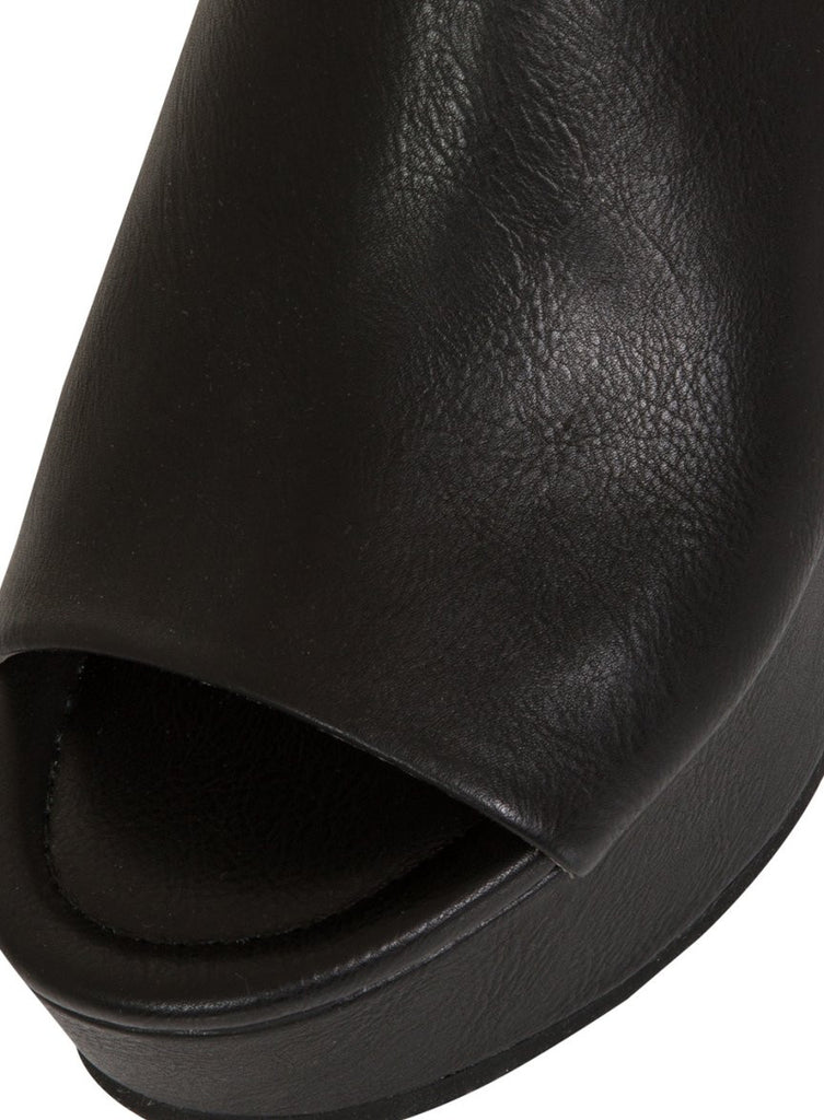London Rebel | Janna Black Leather Look Platform Wedge | Front Three Quarter Close Up