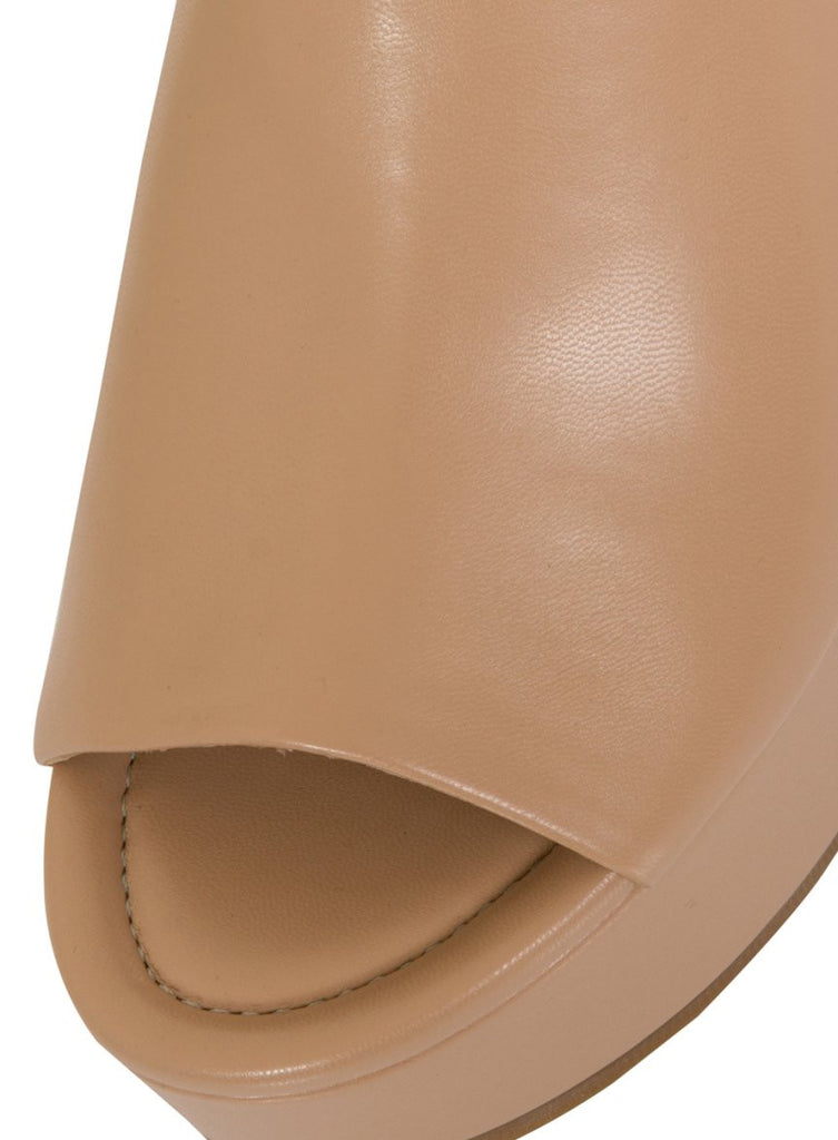 London Rebel | Janna Nude Leather Look Platform Wedge | Front Three Quarter Close Up