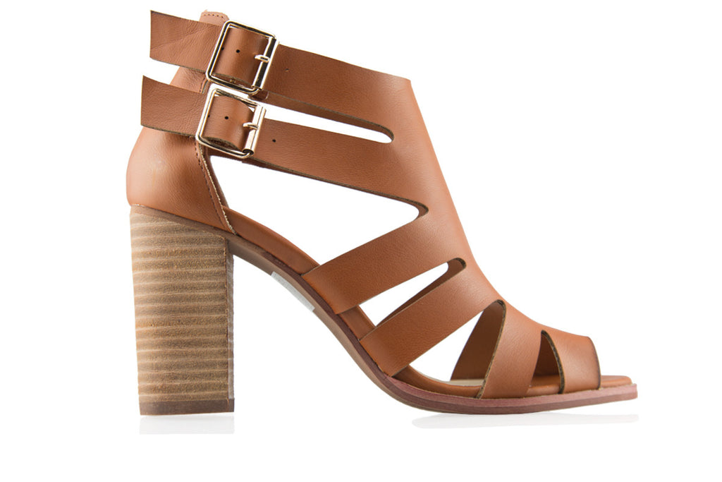 London Rebel | Jenni Tan Block Heel Gladiator Sandal | Side View