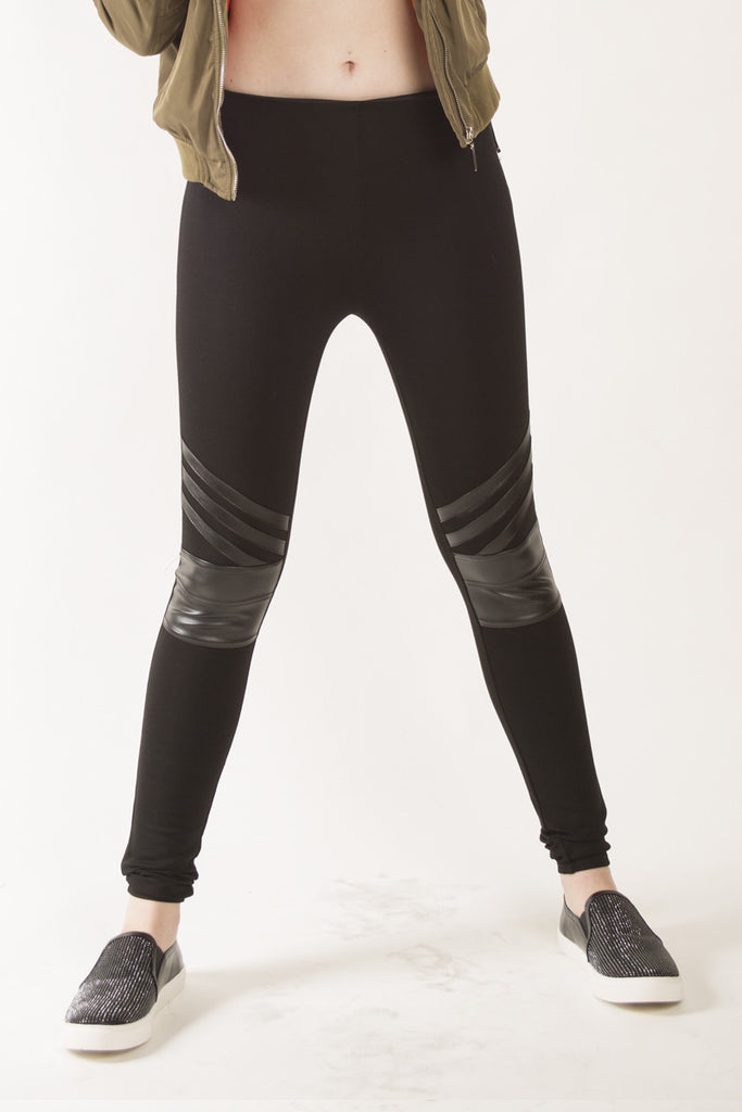 London Rebel | Jet Black Faux leather panel leggings | Lifestyle Image Close Up