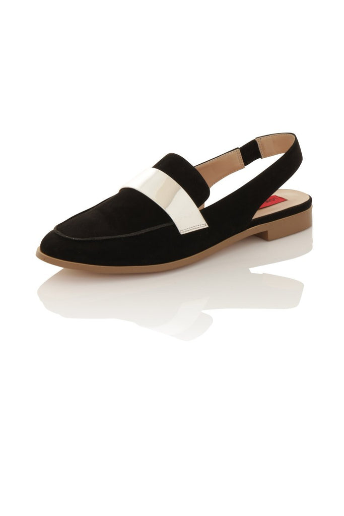 London Rebel | Jinny Black and Silver Slingback Loafer | Front Three Quarter