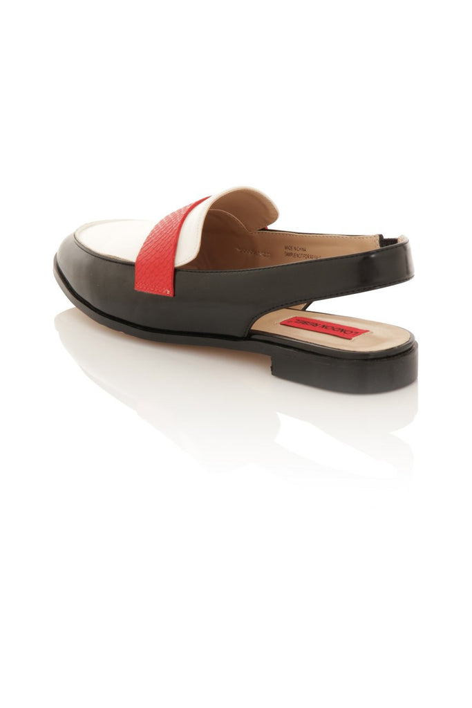 London Rebel | Jinny Black White and Red Slingback Loafer | Back Three Quarter