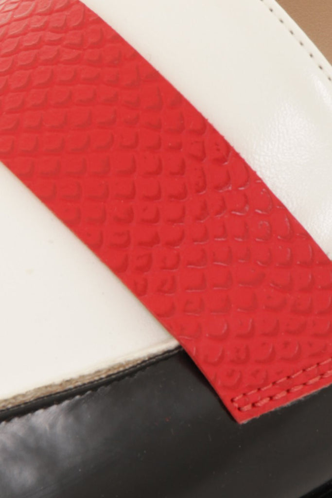 London Rebel | Jinny Black White and Red Slingback Loafer | Close Up