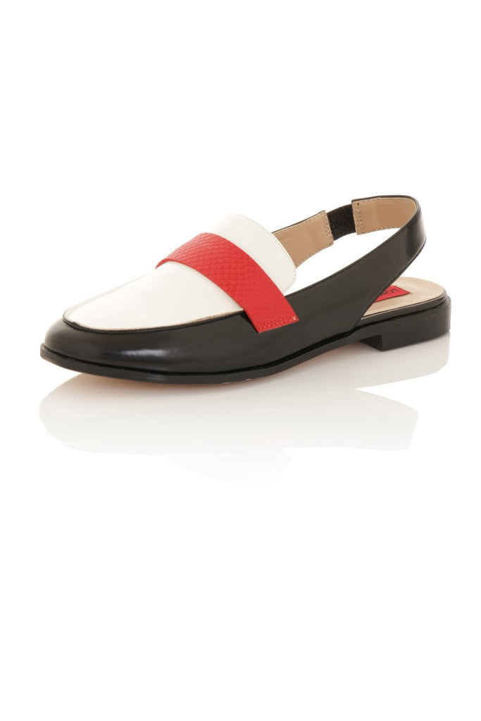 London Rebel | Jinny Black White and Red Slingback Loafer | Front Three Quarter