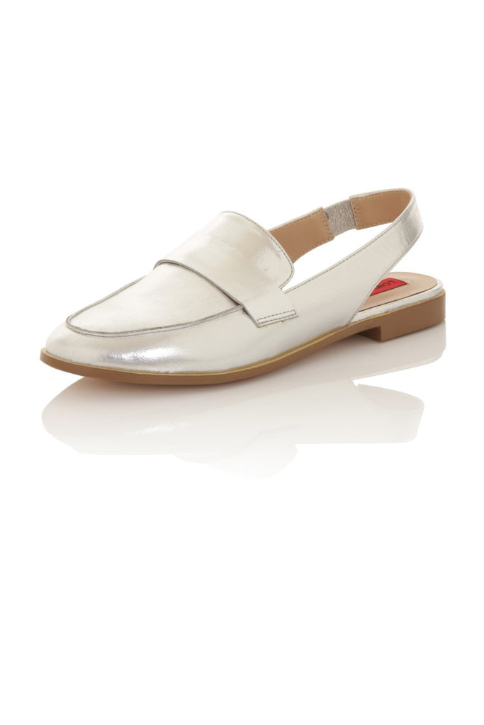 London Rebel | Jinny Silver Slingback Loafer | Front Three Quarter