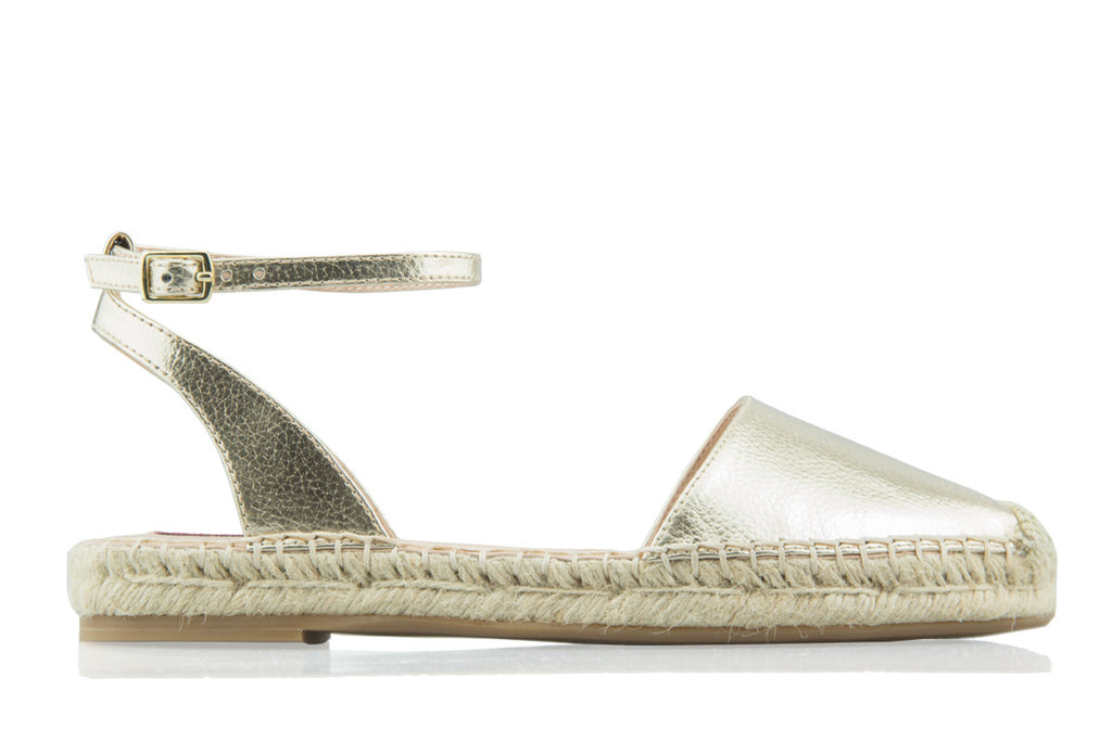 London Rebel | Jude Gold Ankle Strap Espadrille | Side View