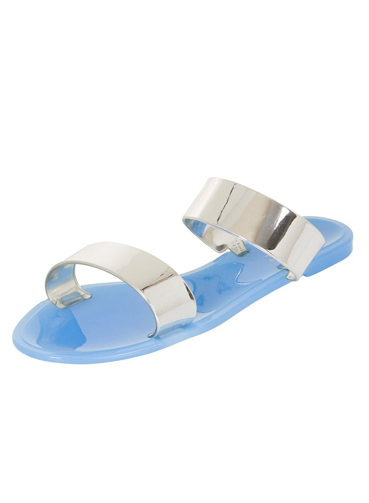 London Rebel | Keepsake Blue Two Part Flat Slider Sandal | Front Three Quarter