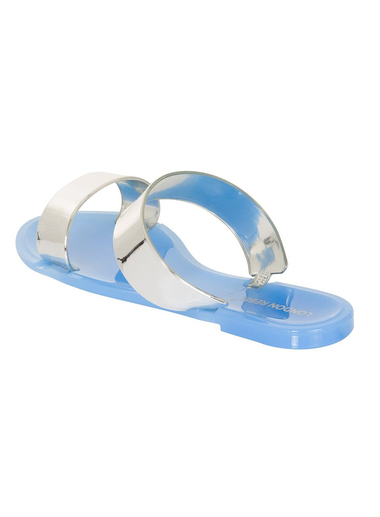 London Rebel | Keepsake Blue Two Part Flat Slider Sandal | Back Three Quarter