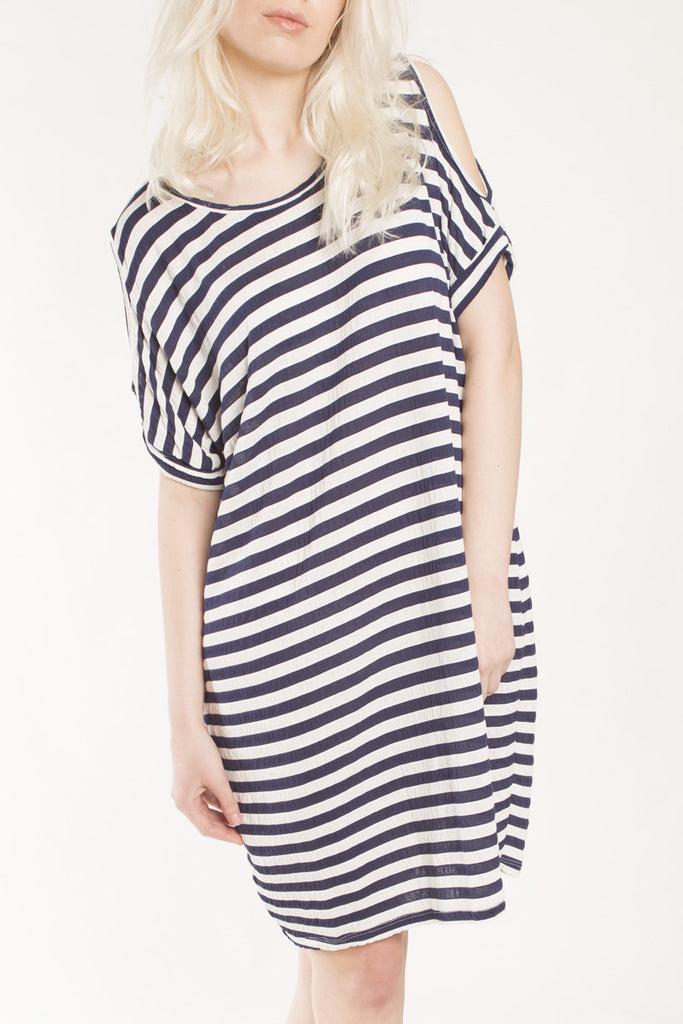 London Rebel | Katy Navy/White Stripe Loose Fit Jersey Dress | Lifestyle Image Close Up