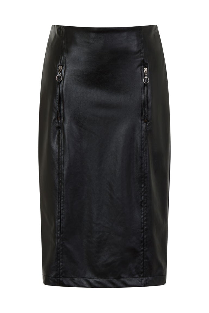 London Rebel | Tameka Midi Faux Leather Skirt | Front View