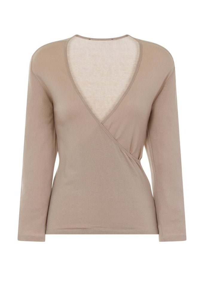 London Rebel | Hilda Nude Wrap Over V-neck | Front View