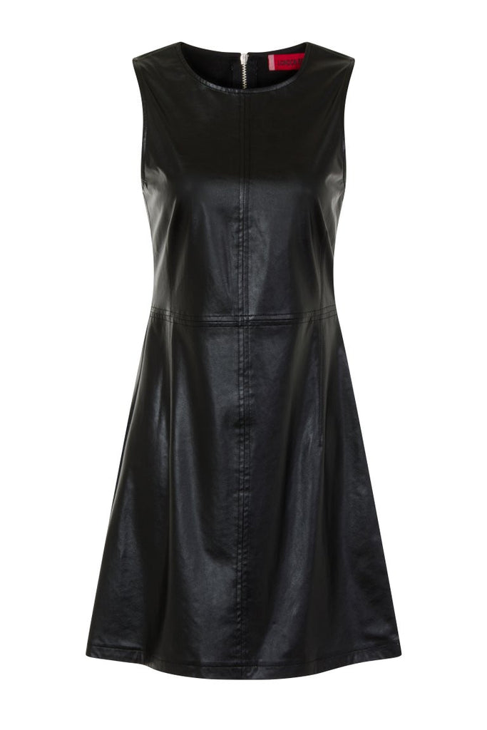 London Rebel | Angelina Black Faux Leather Dress | Front View