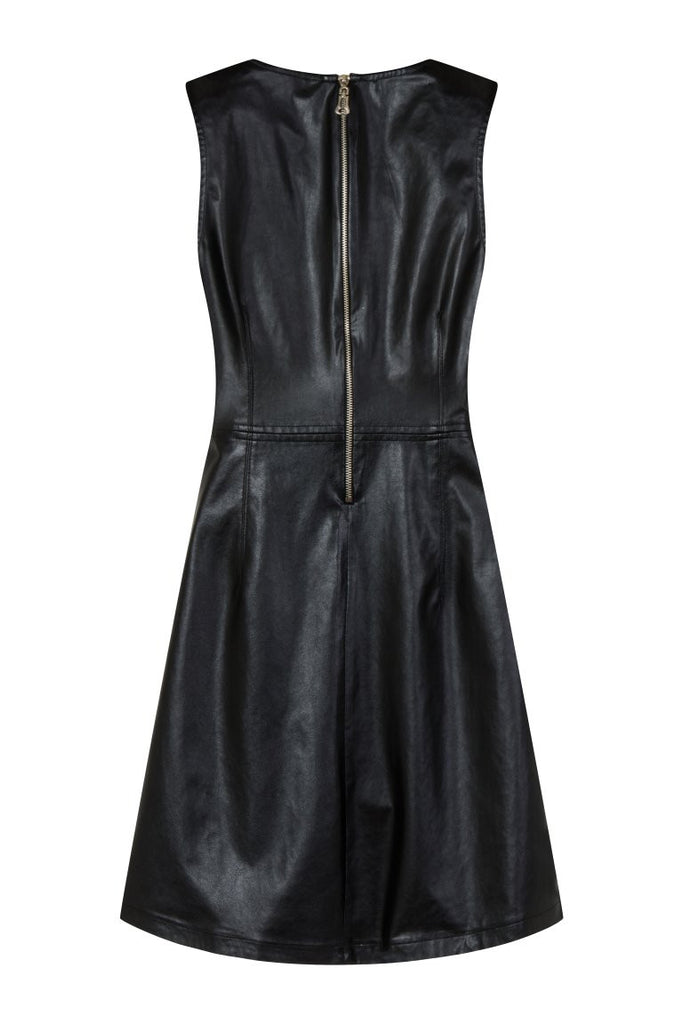 London Rebel | Angelina Black Faux Leather Dress | Back View