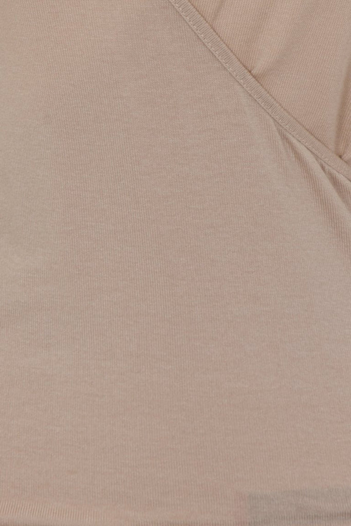 London Rebel | Hilda Nude Wrap Over V-neck | Front View Close Up