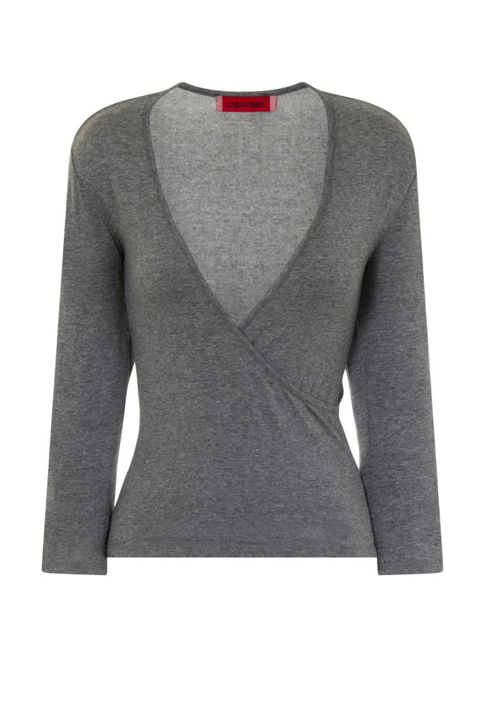 London Rebel | Hilda Light Grey Wrap Over V-neck | Front View