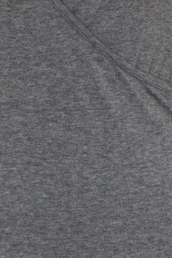 London Rebel | Hilda Light Grey Wrap Over V-neck | Front View Close Up