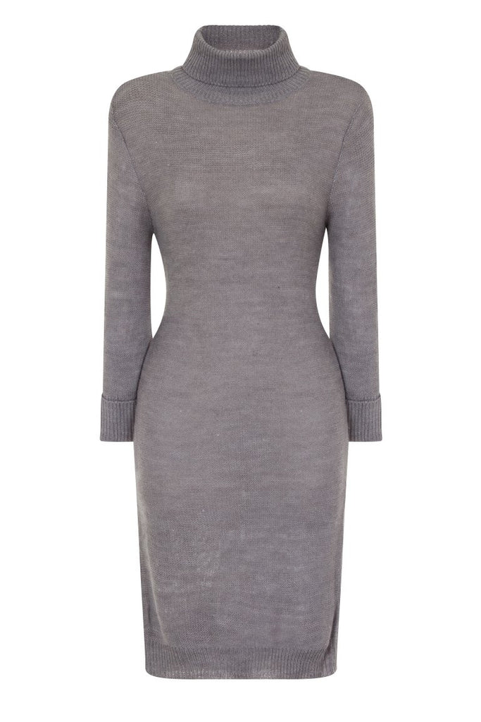 London Rebe | Mandya Crystal Grey Long Line Tunic Dress | Front View