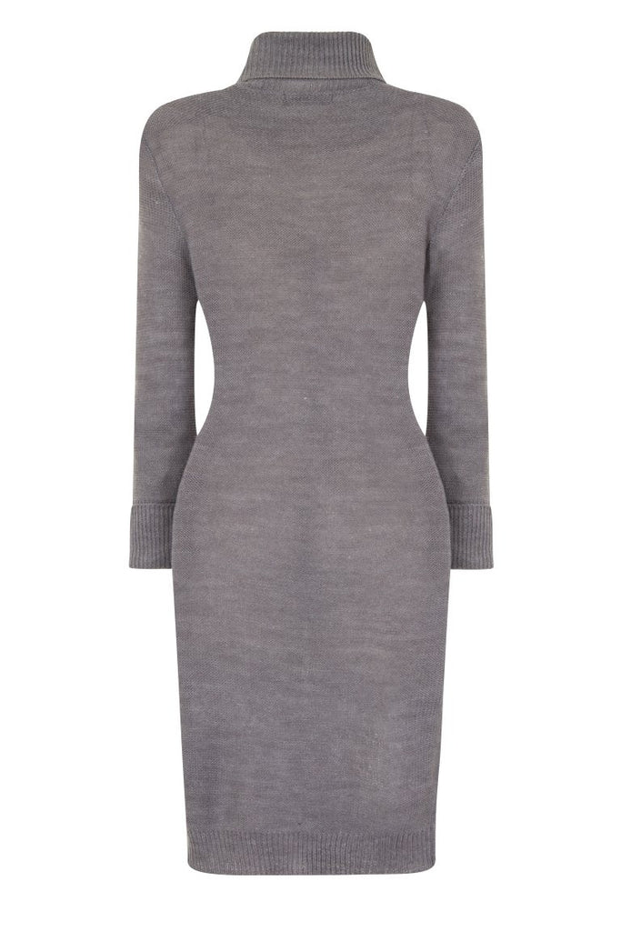 London Rebe | Mandya Crystal Grey Long Line Tunic Dress | Back View