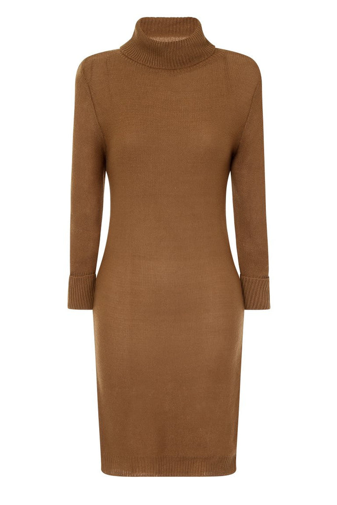 London Rebe | Mandya Camel Long Line Tunic Dress | Front View