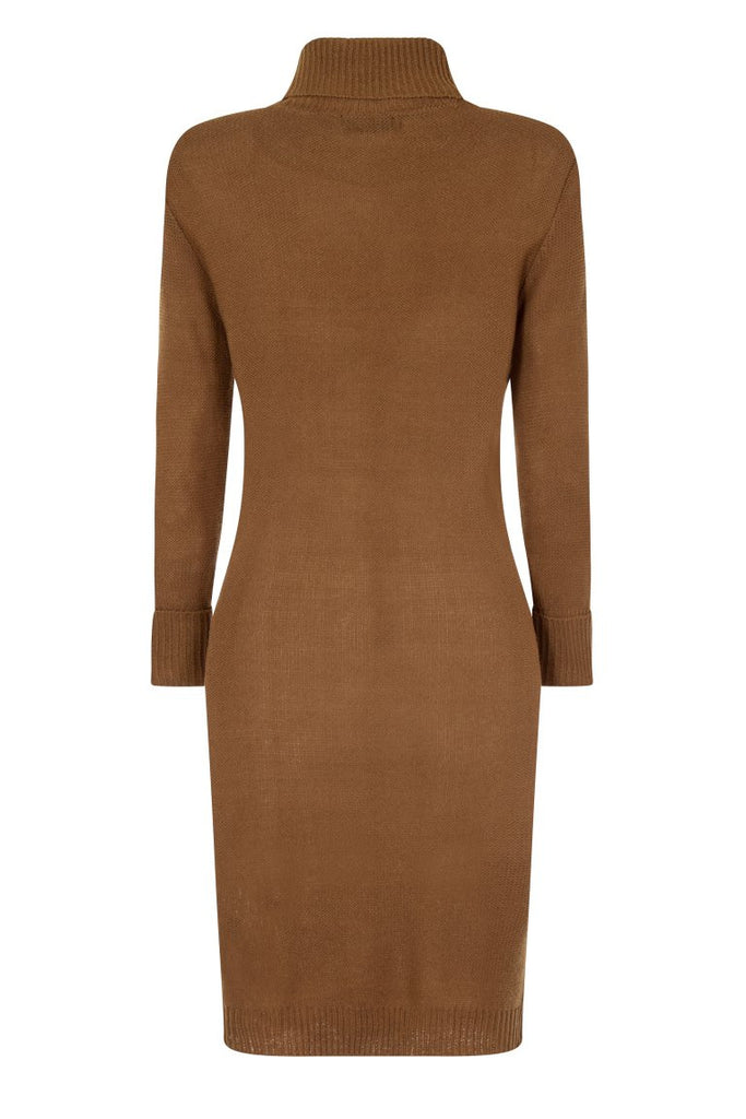 London Rebe | Mandya Camel Long Line Tunic Dress | Back View