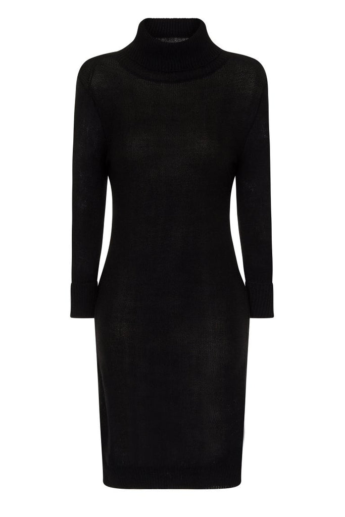 London Rebe | Mandya Black Long Line Tunic Dress | Front View